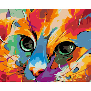 Яркий кот Раскраска картина по номерам на холсте A184