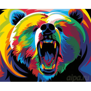 Радужный медведь Раскраска картина по номерам на холсте PA04