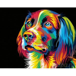 Радужный пес Раскраска картина по номерам на холсте PA07