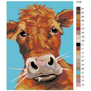 Раскладка Теленок Раскраска картина по номерам на холсте A104