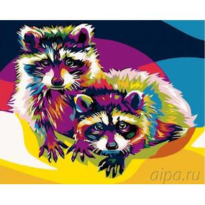 Раскладка Радужные еноты Раскраска картина по номерам на холсте PA09