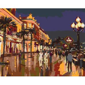 Ночная набережная Раскраска картина по номерам на холсте KRYM-CR04