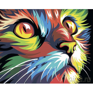 Радужный кот Раскраска картина по номерам на холсте RA046