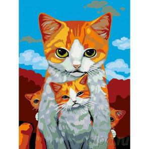 Раскладка Кошка с котятами Раскраска картина по номерам на холсте A338