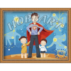 Мой папа - супермен Раскраска по номерам акриловыми красками на холсте Hobbart