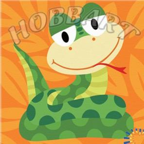 Змейка. Веселые зверюшки Раскраска по номерам акриловыми красками на холсте Hobbart