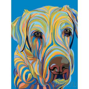 Разноцветный пес Раскраска картина по номерам на холсте A145