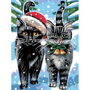 Раскладка Рождественские котики Раскраска картина по номерам на холсте A163