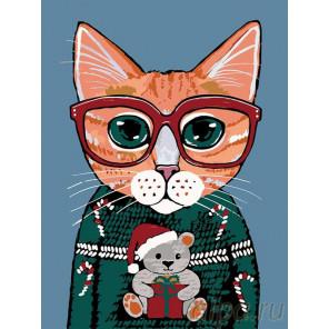 Раскладка В рождественском свитере Раскраска картина по номерам на холсте A328