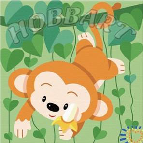 Мартышка. Веселые зверюшки Раскраска по номерам акриловыми красками на холсте Hobbart