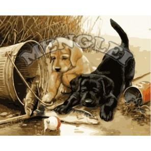Любопытные щенки Раскраска по номерам акриловыми красками на холсте Menglei