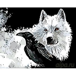 Волк и ворон Раскраска по номерам на холсте Живопись по номерам A363