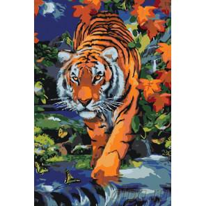 Тигр осенью Раскраска по номерам на холсте Живопись по номерам A369