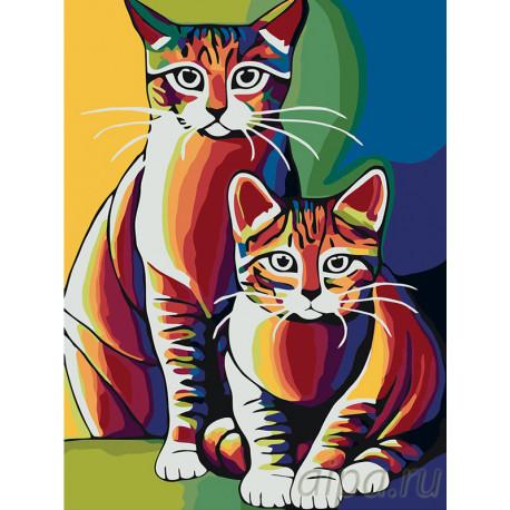 A405-60x80 Радужные коты Раскраска по номерам на холсте ...