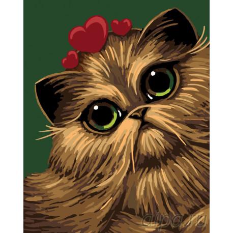 Кошка в сердцах Раскраска по номерам на холсте Живопись по номерам A411