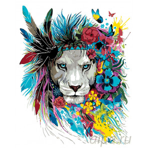 Раскладка Цветочный лев Раскраска по номерам на холсте Живопись по номерам PA105