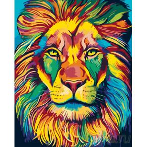 Раскладка Радужная голова льва Раскраска по номерам на холсте Живопись по номерам PA113