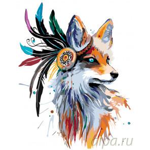 Раскладка Красочный тотем лисицы Раскраска по номерам на холсте Живопись по номерам PA121