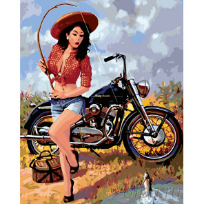 Мотоциклистка Раскраска по номерам на холсте Живопись по номерам Z3201
