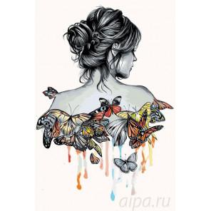 Схема Наряд из бабочек Раскраска по номерам на холсте Живопись по номерам PA94