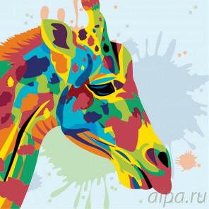 Схема Радужный жираф Раскраска по номерам на холсте Живопись по номерам PA97