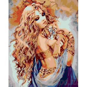Девушка с тигренком Раскраска по номерам на холсте Живопись по номерам ARTH-AH160