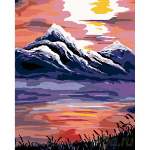 Закат в горах Раскраска по номерам на холсте Живопись по номерам RA097