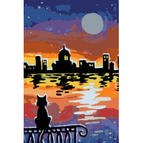 Закат в любимом городе Раскраска по номерам на холсте Живопись по номерам RA121