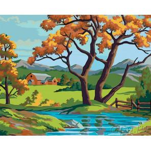Схема Осень в горном селе Раскраска по номерам на холсте Живопись по номерам PP06