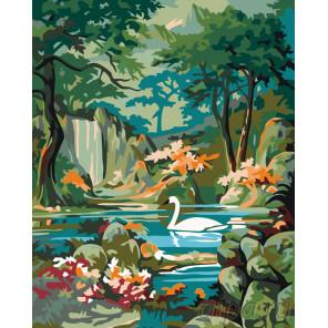 Схема Лебедь в горном озере Раскраска по номерам на холсте Живопись по номерам PP12