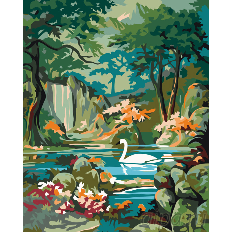 PP12-80x100 Лебедь в горном озере Раскраска по номерам на ...