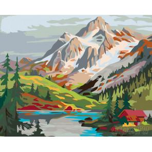 Схема Горное озеро Раскраска по номерам на холсте Живопись по номерам PP16