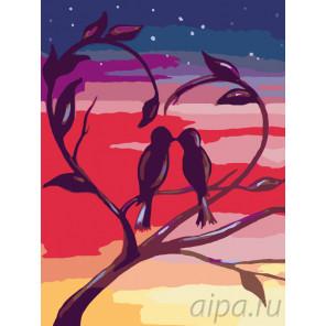 Влюбленные пташки Раскраска по номерам на холсте Живопись по номерам RA083