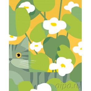Кот на прогулке Раскраска по номерам на холсте Живопись по номерам RA167