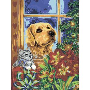 Котенок и пес у елки Раскраска по номерам на холсте Живопись по номерам RA43