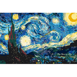 Звездная ночь Раскраска по номерам на холсте Живопись по номерам KRYM-Z010