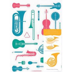 Музыкальные инструменты Набор прозрачных штампов для скрапбукинга, кардмейкинга Docrafts