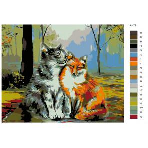 Раскладка Дружба без границ Раскраска по номерам на холсте Живопись по номерам ARTH-AH78V