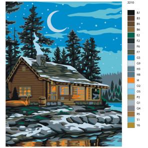 Раскладка Ночь над озером Раскраска по номерам на холсте Живопись по номерам AYAY-2210