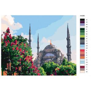 Раскладка Мечеть в цветущем саду Раскраска по номерам на холсте Живопись по номерам ARTH-AH286