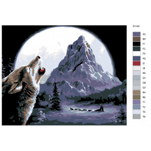 Раскладка Северная луна Раскраска по номерам на холсте Живопись по номерам KTMK-01143
