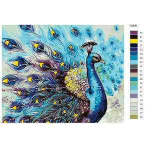 Раскладка Синий павлин Раскраска по номерам на холсте Живопись по номерам KTMK-53656