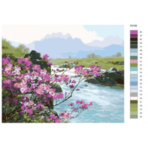 Раскладка Весна в предгорье Раскраска по номерам на холсте Живопись по номерам KTMK-03109
