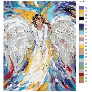 Раскладка Печальный ангел Раскраска по номерам на холсте Живопись по номерам KTMK-281361