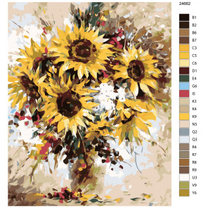 Раскладка Подсолнухи в вазе Раскраска по номерам на холсте Живопись по номерам KTMK-24662