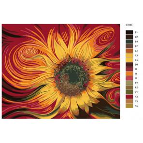Раскладка Огненный подсолнух Раскраска по номерам на холсте Живопись по номерам KTMK-67095-4
