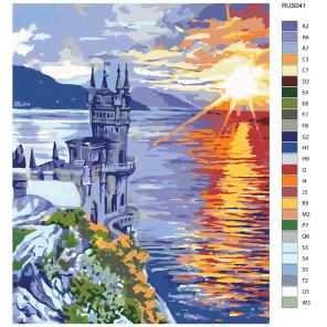Схема Закат над Черным морем Раскраска по номерам на холсте Живопись по номерам RUS041