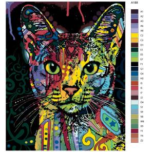 Раскладка Радужный портрет кота Раскраска по номерам на холсте Живопись по номерам Z-A188