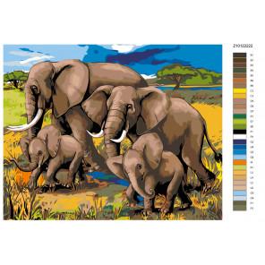Раскладка Семья слонов Раскраска по номерам на холсте Живопись по номерам Z-Z10122223