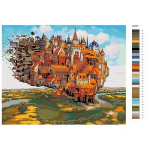 Схема Летающий замок Раскраска по номерам на холсте Живопись по номерам Z-Z328921